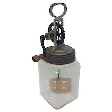 Antique 2 Quart European Design Victorian Butter Churn Hand Crank with Blown Glass Jar - Butterglas
