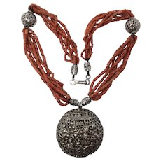 Natural Red Mediterranean Coral Tube Beads & Silver Huge Asian Medallion Statement Necklace