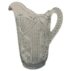 Early American Pattern Glass Brilliant Victorian Style Pitcher Sawtooth-Star-Zipper-Fan Patterns by Federal Glass