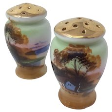Gilded Vintage Hand Painted Landscape Scene Japanese Vase Shape Salt & Pepper Shakers