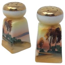 Gilded Vintage Hand Painted Landscape Scene Japanese Salt & Pepper Shakers