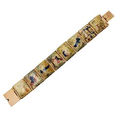 Vintage Mughal Hand Painted Panel Story Bracelet Set In 14 Karat Yellow Gold