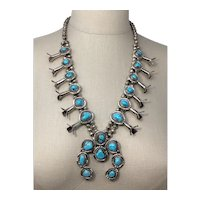 Vintage American Indian Navajo Squash Blossom Necklace Sterling Silver with Turquoise Cabochons