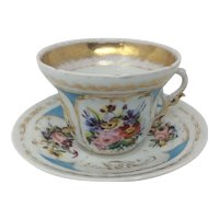 Antique Old Paris Vieux Extra Large Porcelain Cup and Saucer Set Hand-Painted Florals and Gilded French Style