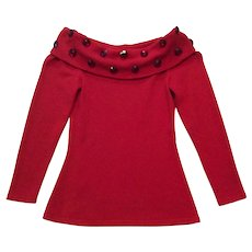 Vintage Raul Blanco Sz 6 Red Off Shoulder Jeweled Party Sweater  - Bonwit Teller*