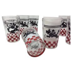 Anchor Hocking Scotty Dog Juice Glass Tumbler Set of 8
