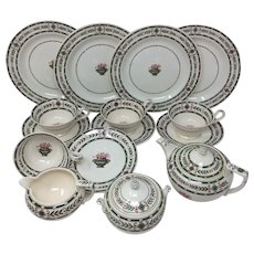 The Etruria By Wedgwood Green Laurel Creamware Dessert Set 17 Pieces