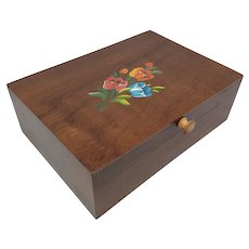 Vintage Ziprinho Tole Painted Wooden Sewing Box with Gingham Lining  Hand Made in Sao Bento Brazil