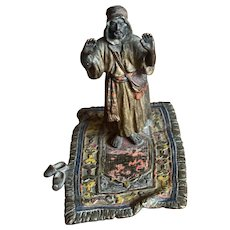 Austrian Cold Painted Bronze Miniature - Man Standing on Prayer Rug
