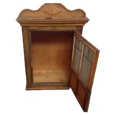 C19th French Child's Walnut and Cherry wood Aprentise Piece Armoir / Small Cabinet with frosted glass Andy Chevron Inlay