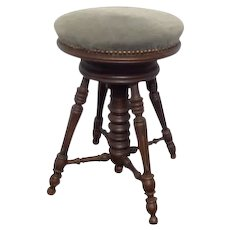 Early French Stained Walnut Rotating , Swivel and Adjutable Height Piano Stool