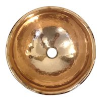 Handworked Handmade Solid Copper 6mm rolled end Metal Vintage Washbasin 34 cm diameter with rolled bath edge
