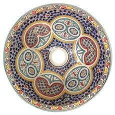 58 35cm Single Sided Handmade Moroccan Pottery Ceramic Vintage Washbasin Wash basin Bathroom Sink Alfresco Kitchen Sink