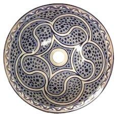 49 35cm Double Sided Handmade Moroccan Pottery Ceramic Vintage Washbasin Wash basin Bathroom Sink Alfresco Kitchen Sink