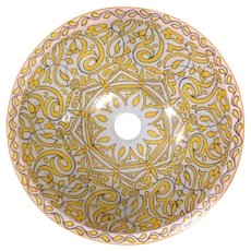 18 45 cm Single Sided Handmade Moroccan Pottery Ceramic Vintage Wash basin Washbasin Bathroom Sink Alfresco Kitchen Sink