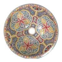 17 45 cm Single Sided Handmade Moroccan Pottery Ceramic Vintage Wash basin Washbasin Bathroom Sink Alfresco Kitchen Sink