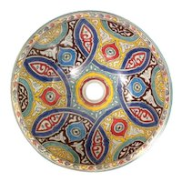 16 45 cm Single Sided Handmade Moroccan Pottery Ceramic Vintage Washbasin Washbasin Bathroom Sink Alfresco Kitchen Sink Sq Back