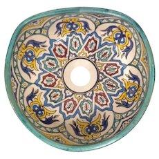 13 35cm Handmade Moroccan Pottery Ceramic Vintage Washbasin Washbasin Bathroom Sink Alfresco Kitchen Sink Sq Back 35 x 31 cm