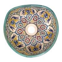 12 35cm Handmade Moroccan Pottery Ceramic Vintage Washbasin Wash basin Bathroom Sink Alfresco Kitchen Sink Sq Back 35 x 31 cm