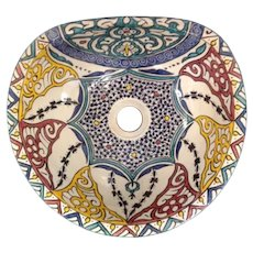 10 35cm Handmade Moroccan Pottery Ceramic Vintage Washbasin Wash basin Bathroom Sink Alfresco Kitchen Sink Sq Back 35 x 31 cm