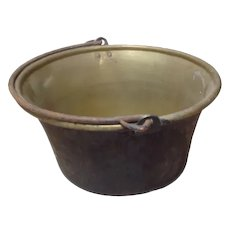 French Brass Cauldron with iron swing handle , Grest log basket , Xmas tree holder , flower arranging fire pit etc