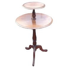Rare Solid Mahogany Georgian Two Tier Tripod Table , Lazy Susan Wine Table