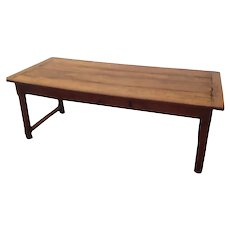 French Charantese Charente Solid Walnut Farmhouse Kitchen Table on H stretcher with 2 drawers 207 cm long and 85 cm Wide