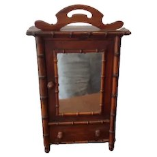 Antique Vintage French Walnut Child's Armoire, Apprentice piece, with working drawer and mirrored cupboard door 42 cm high make great jewell