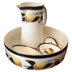 French Belle Époque 5 piece bathrooms jug and bowl set Salle de Bain set by Hammage Moulin des Loup s Nord , Pattern Citron Depose VgC