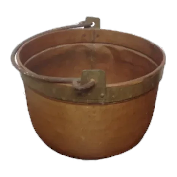 French Perigordain Copper Cauldron with cast iron handle VGc Plant Holder , Tress Planter Urn etc