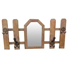Vintage French Picket Gate Hall way Coat Hat Rack with Mirror