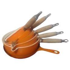 Set of 6 Le Creuset Volcanic Orange Pans Frying Pan Mil Pan