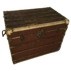 "French "" Louvre Paris "" Vellum , Leather and Rattan Tarvelling Trunk with Tray ( Like Louis Vuitton )"