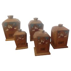 Rare set of French Solid Oak Graduated Kitchen Storage Jars for Coffee ,Flour, Salt ,9 In french of Course etc