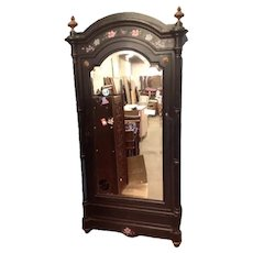 Napoleonic Armoire with Bevelled Glass Door and 2 Drawers and Birds Eye Walnut interior and two further short drawers