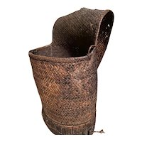 Antique Woven Backpack - Gathering Basket with Wood Bottom