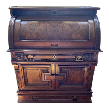Burl Walnut Cylinder Secretary Desk