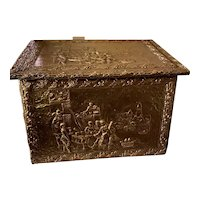 Antique Brass Repousse Tinder Box, ca 1900
