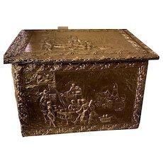 Antique Brass Repousse Tinder Box, ca 1900