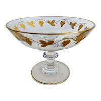 Vintage Val Saint Lambert Gold Embossed Compote