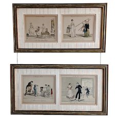 19th C. French Hand-Colored Engravings 'Le Bon Genre'