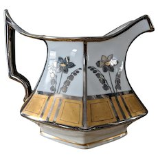 T & V Art Nouveau Gold & Platinum Cider Pitcher