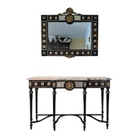 Neoclassical Louis XVI Ebonized Marble Top Console with Mirror