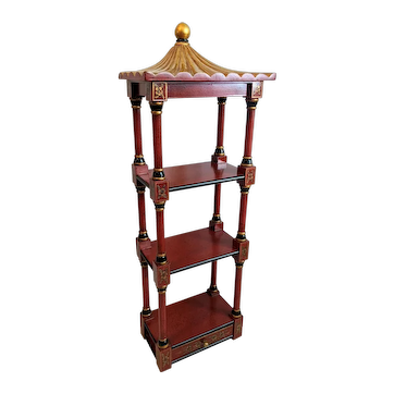 Chinoiserie Style Red Pagoda Wall Shelf