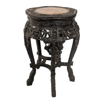 Antique Chinese Marble Inlay Hardwood Plant Stand