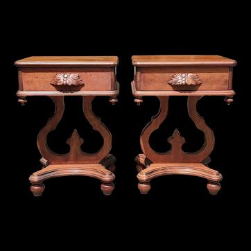 Vintage Folk Art Side Pedestal End Tables, A Pair