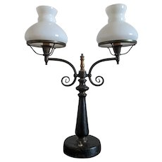 Vintage Leather Wrapped Double Arm Desk Lamp