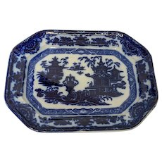 "Antique Oriental Dark Cobalt Flow Blue ""Temple"" Platter"