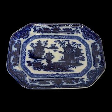 "Antique Oriental Dark Cobalt Flow Blue ""Temple"" Platter"