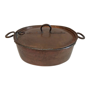 Antique Hand-Crafted Covered Copper Cook Pot